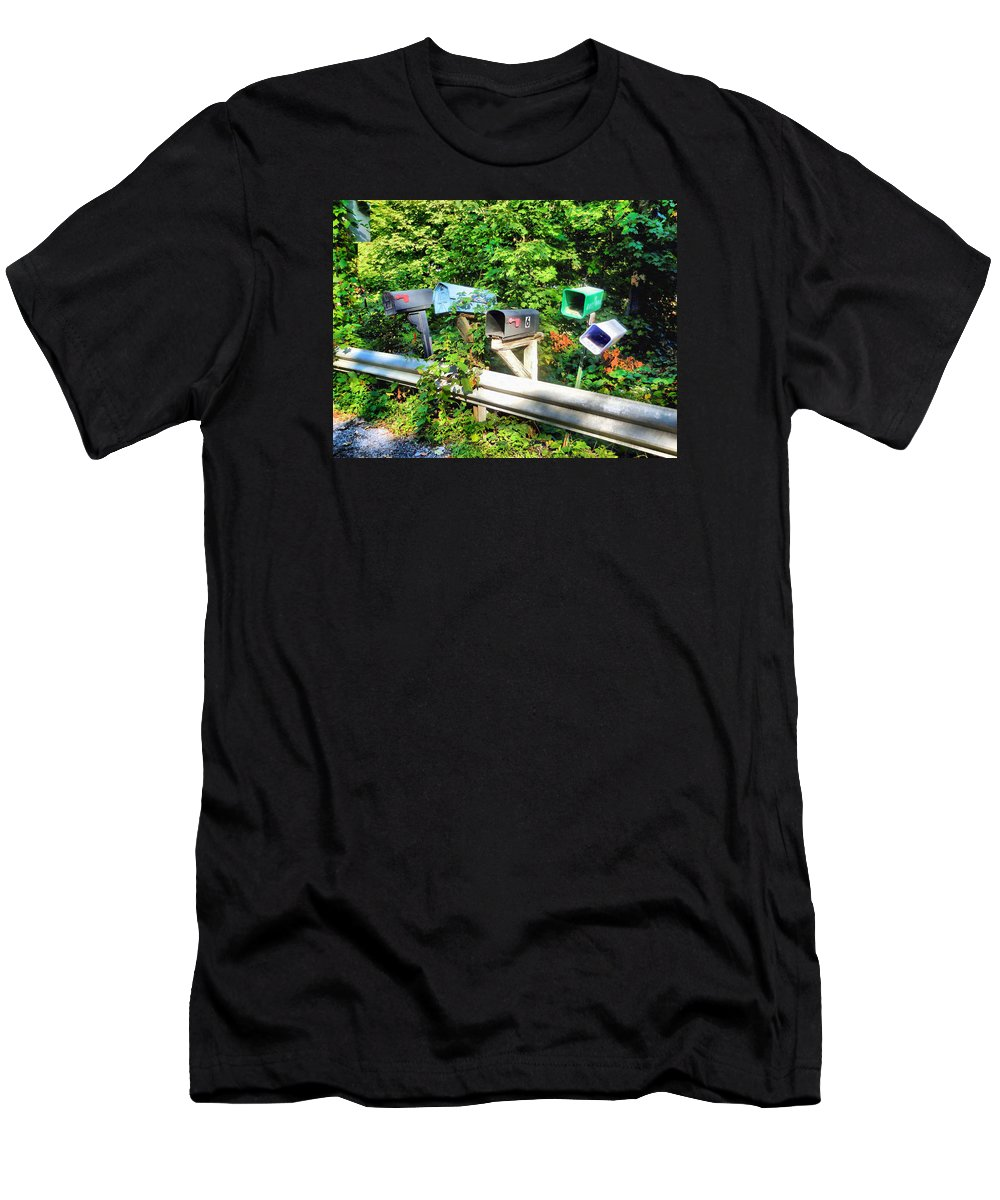 Rural Mailboxes Men's T-Shirt (Athletic Fit) featuring the painting Rural Mailboxes by Jeelan Clark