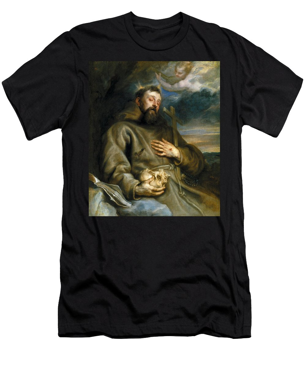 Anthony Van Dyck Men's T-Shirt (Athletic Fit) featuring the painting Saint Francis Of Assisi In Ecstasy by Anthony van Dyck