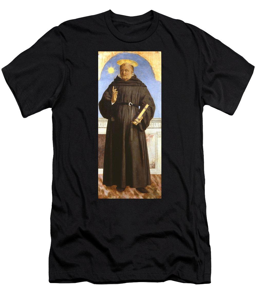 Bishop Men's T-Shirt (Athletic Fit) featuring the painting Saint Nicholas Of Tolentino by Piero della Francesca
