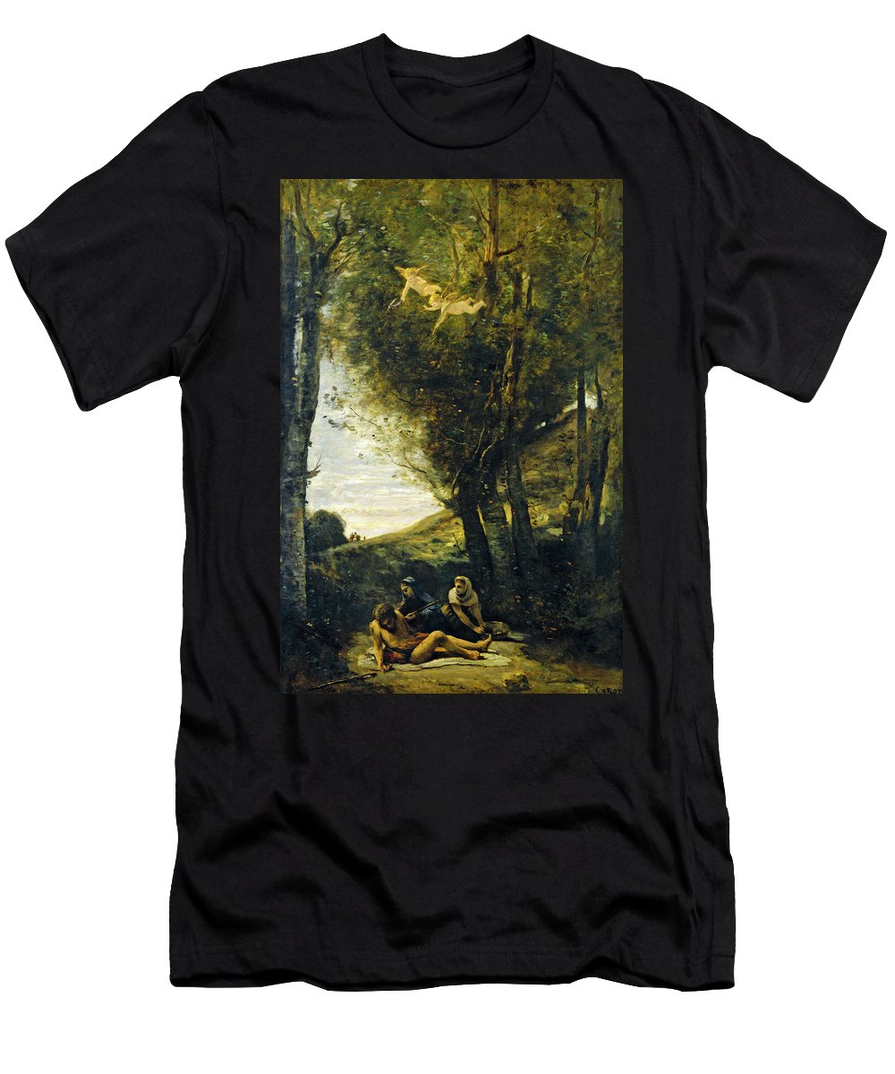Artist Men's T-Shirt (Athletic Fit) featuring the painting Saint Sebastian Succored By The Holy Women by Jean Baptiste Camille Corot