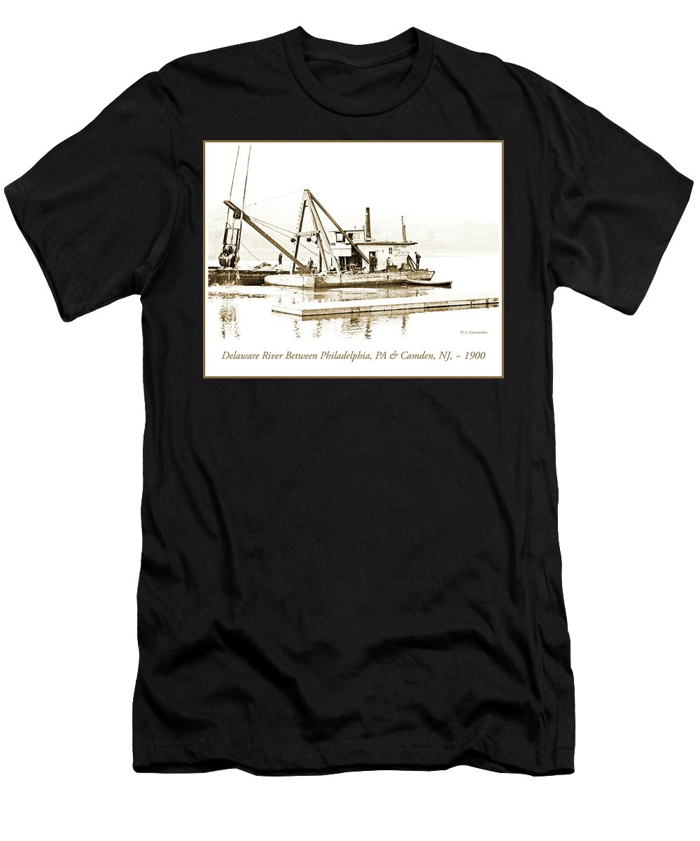 Salvage Men's T-Shirt (Athletic Fit) featuring the photograph Salvage Barge, Delaware River, Philadelphia, C.1900 by A Gurmankin