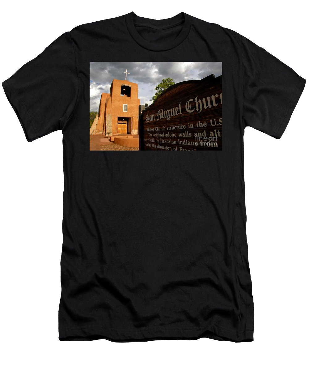 San Miguel Mission Church New Mexico Men's T-Shirt (Athletic Fit) featuring the photograph San Miguel Mission Church by David Lee Thompson