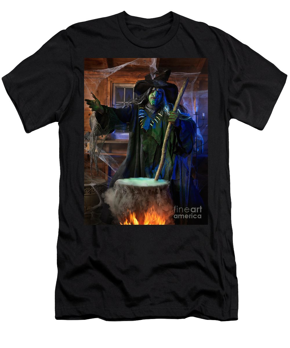 Witch Men's T-Shirt (Athletic Fit) featuring the photograph Scary Old Witch With A Cauldron by Oleksiy Maksymenko