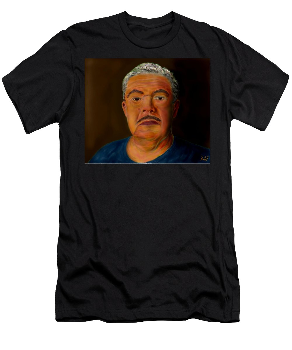 Selfportrait Men's T-Shirt (Athletic Fit) featuring the painting Selfportrait by Helmut Rottler