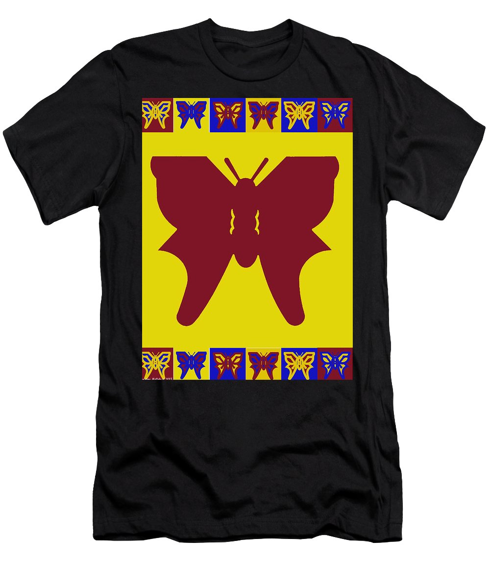Butterflies Men's T-Shirt (Athletic Fit) featuring the tapestry - textile Serendipity Butterflies Brickgoldblue 5 by Christine McCole