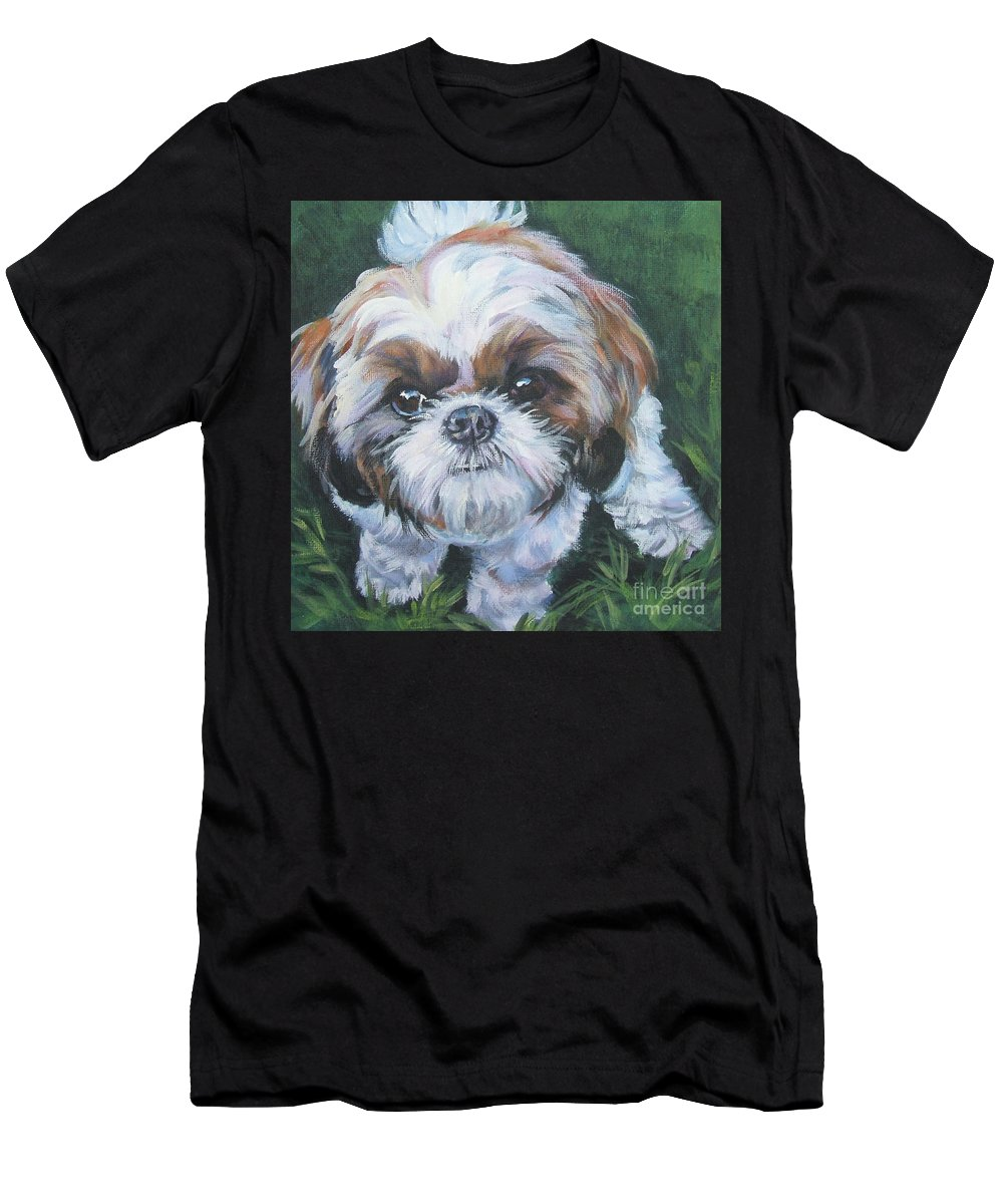 Shih Tzu Men's T-Shirt (Athletic Fit) featuring the painting Shih Tzu by Lee Ann Shepard