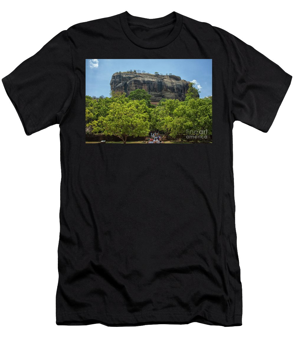 Lanka Men's T-Shirt (Athletic Fit) featuring the photograph Sigiriya Rock by Patricia Hofmeester