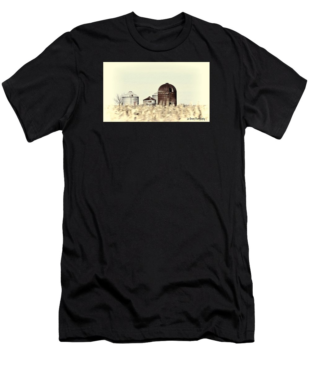 Photography; Photograph; Photo; Picture; Country; Black And White; Silo; Rural; Landscape; Art Men's T-Shirt (Athletic Fit) featuring the photograph Silo's by Lu Brown