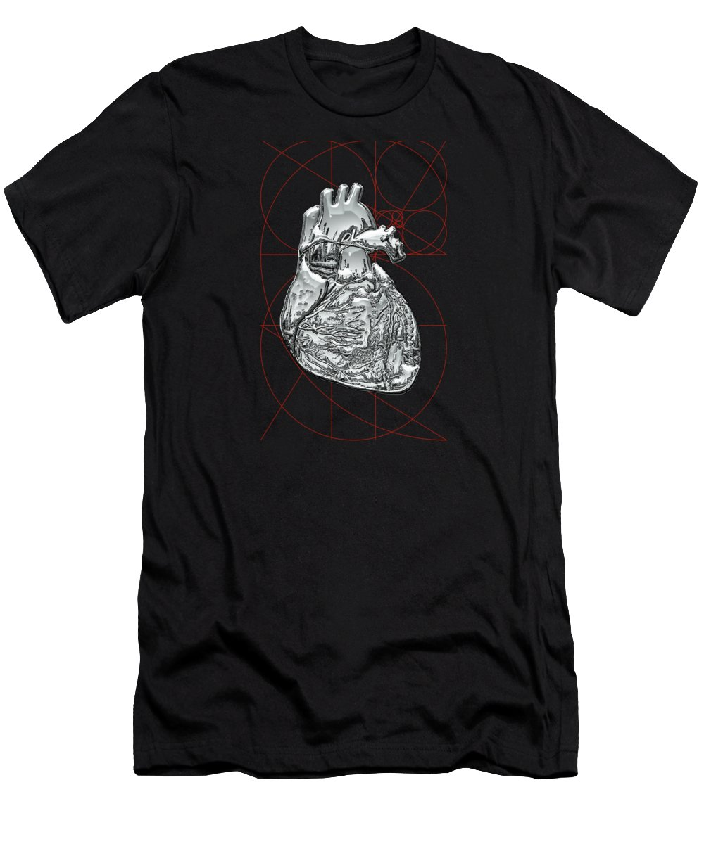 �inner Workings� Collection By Serge Averbukh Men's T-Shirt (Slim Fit) featuring the photograph Silver Human Heart On Black Canvas by Serge Averbukh