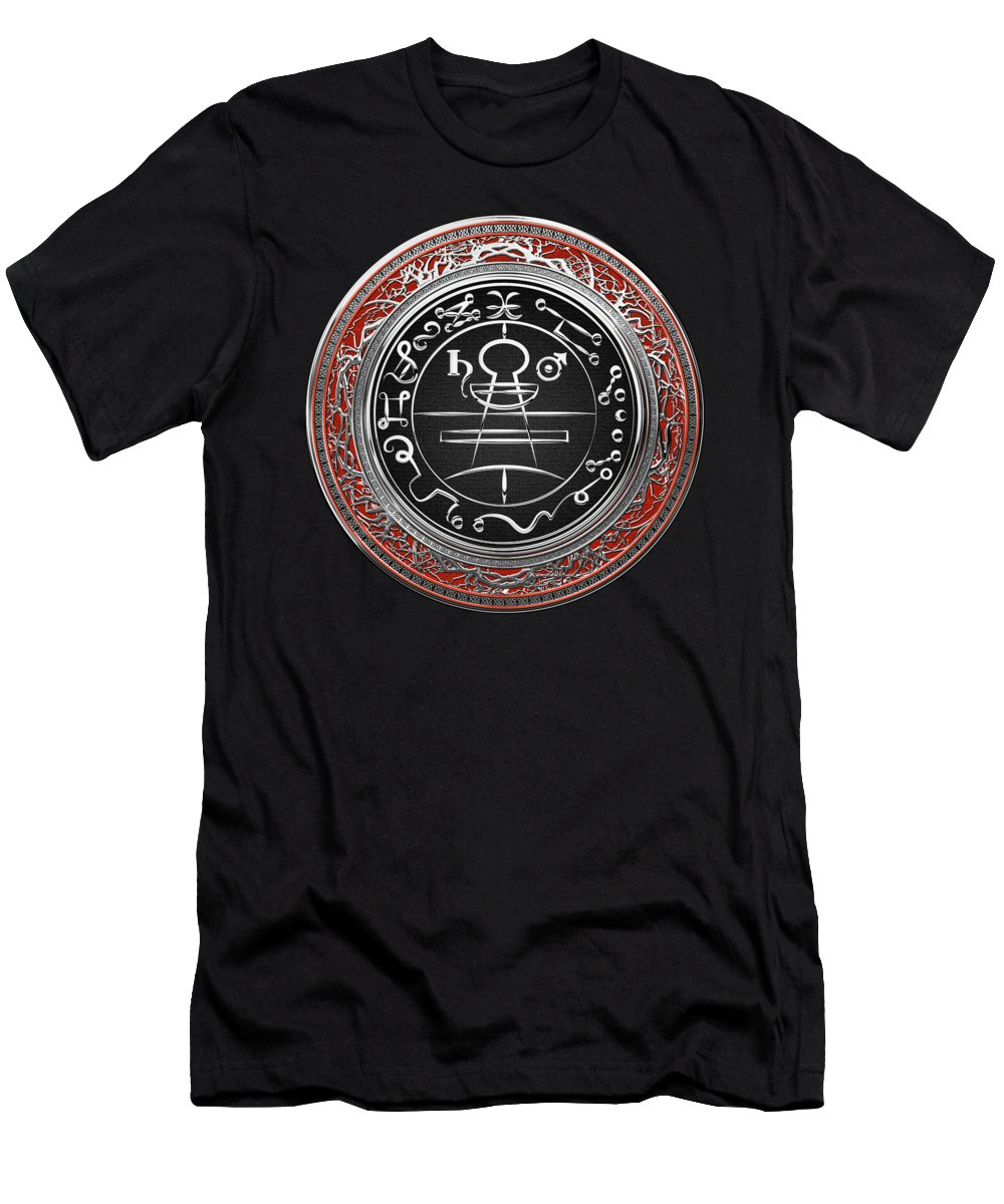 'sacred Symbols' Collection By Serge Averbukh Men's T-Shirt (Athletic Fit) featuring the photograph Silver Seal Of Solomon - Lesser Key Of Solomon On Red Velvet by Serge Averbukh