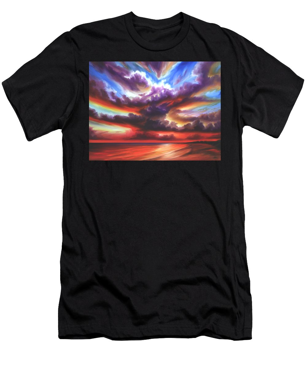Sunrise T-Shirt featuring the painting Skyburst by James Christopher Hill
