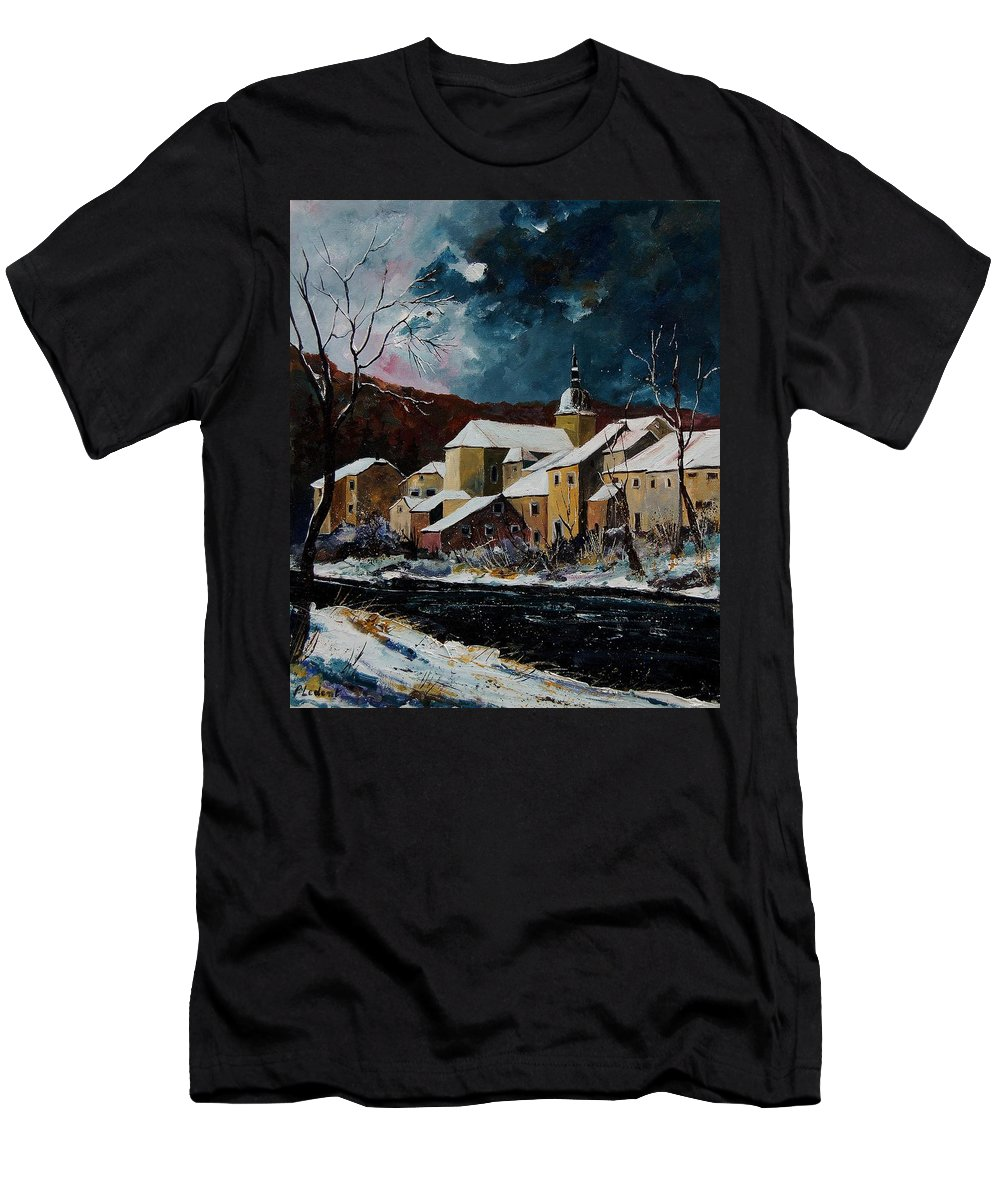 Winter Men's T-Shirt (Athletic Fit) featuring the painting Snow In Chassepierre by Pol Ledent