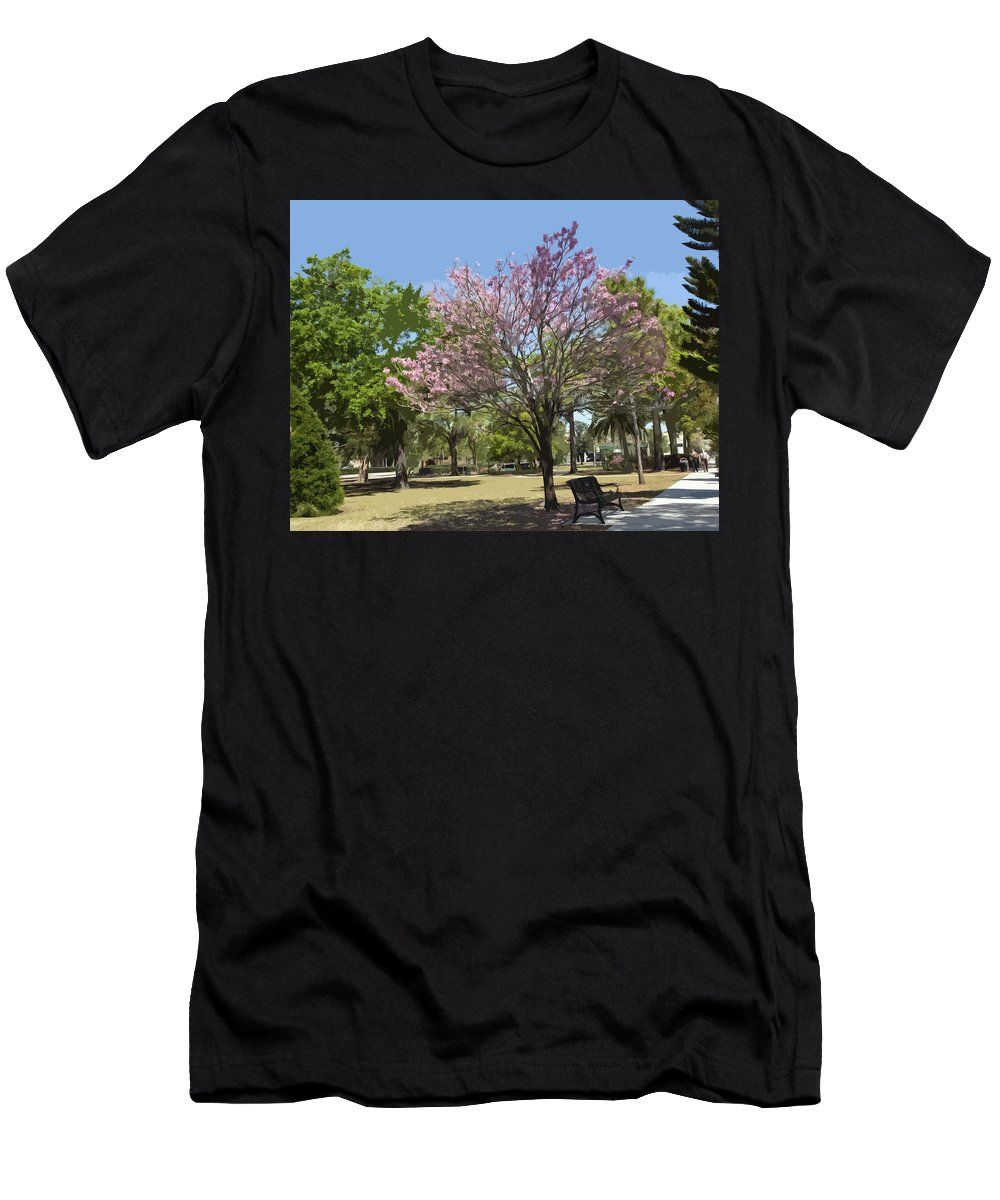 Tree Men's T-Shirt (Athletic Fit) featuring the painting Spring In Winter Park by Allan Hughes