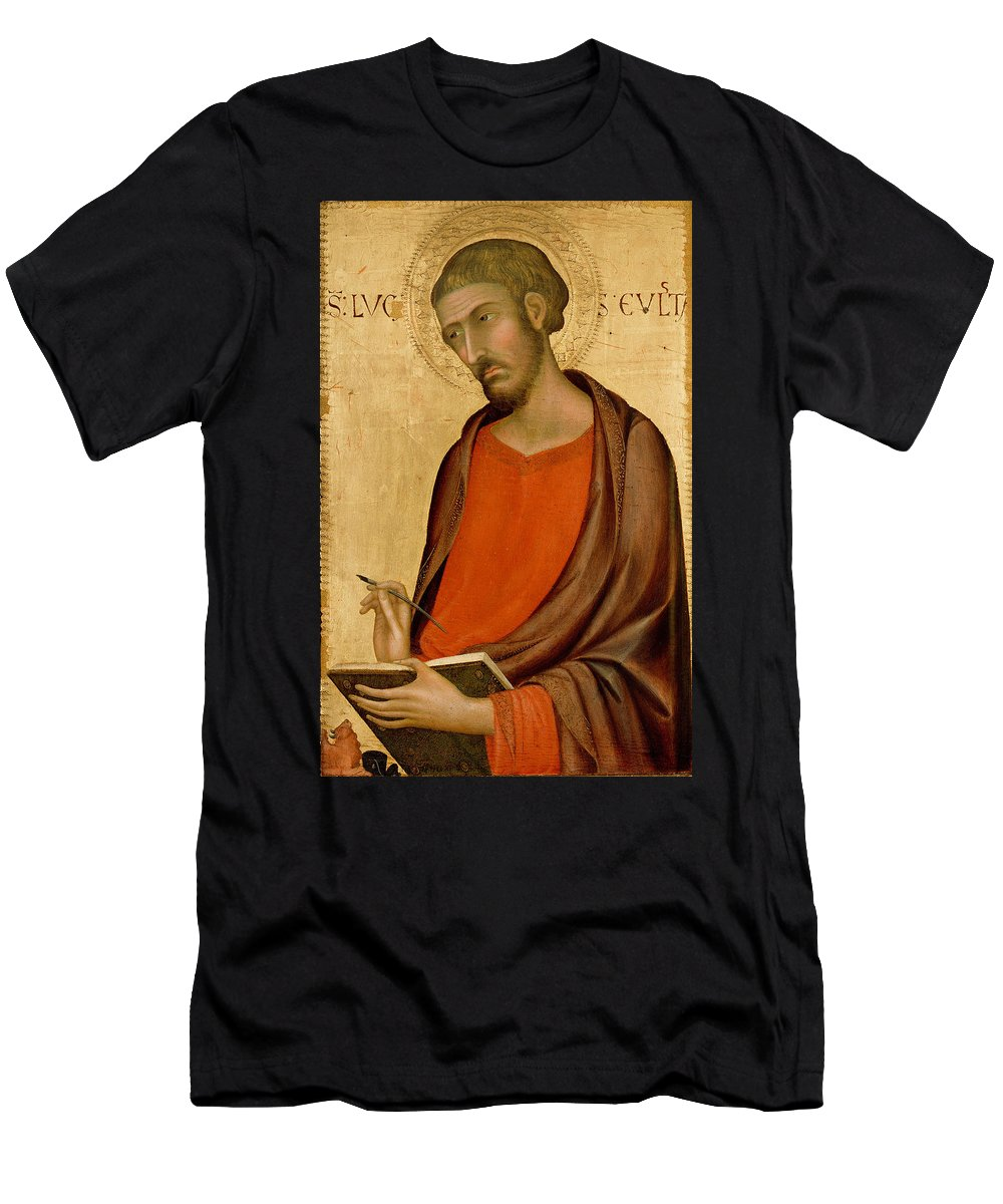 Simone Martini Men's T-Shirt (Athletic Fit) featuring the painting St Luke by Simone Martini