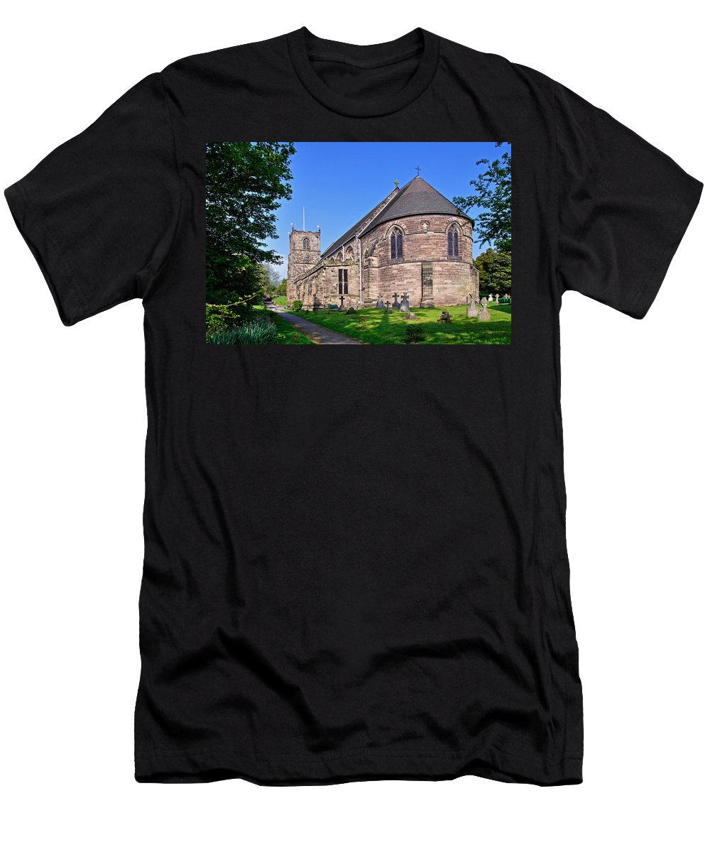 Clock Men's T-Shirt (Athletic Fit) featuring the photograph St Mary's Church - Tutbury by Rod Johnson