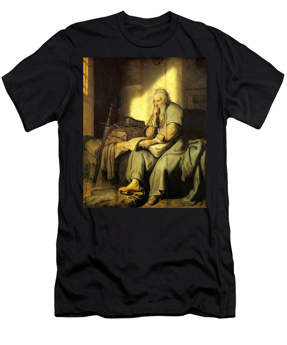 Apostle Men's T-Shirt (Athletic Fit) featuring the painting St. Paul In Prison by Rembrandt van Rijn