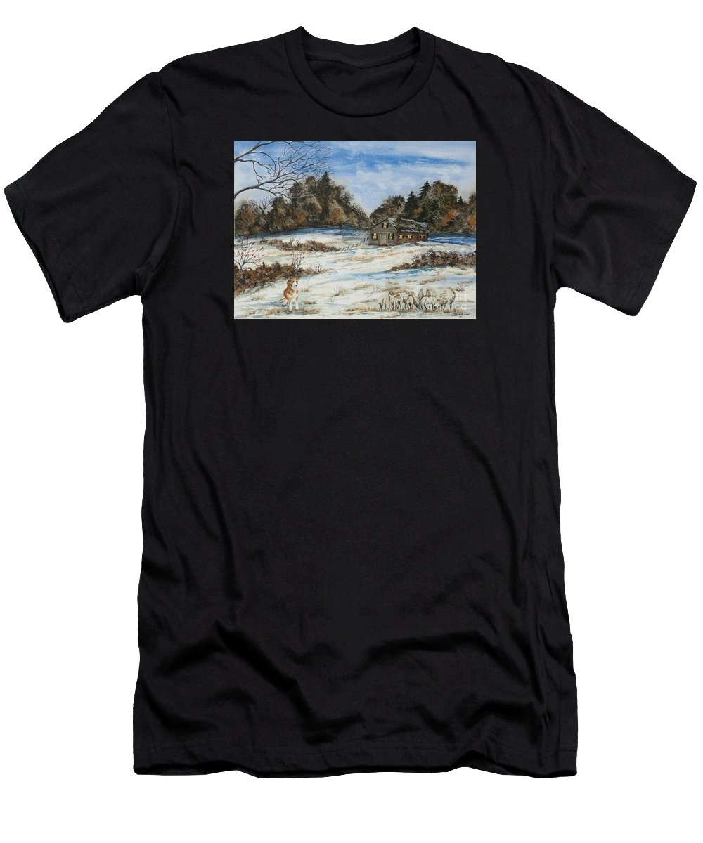 Dog Men's T-Shirt (Athletic Fit) featuring the painting Standing Guard by Charlotte Blanchard