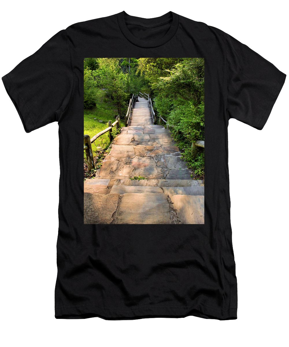 Steps Men's T-Shirt (Athletic Fit) featuring the photograph Step Down by Kristin Elmquist