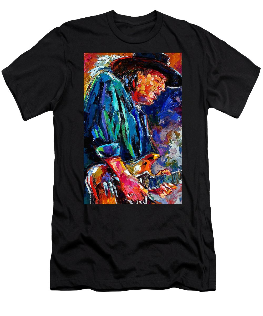 Stevie Ray Vaughan Men's T-Shirt (Athletic Fit) featuring the painting Stevie Ray Vaughan by Debra Hurd