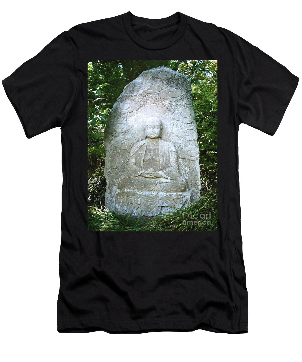 Stone Men's T-Shirt (Athletic Fit) featuring the photograph Stone Buddha by Dean Triolo