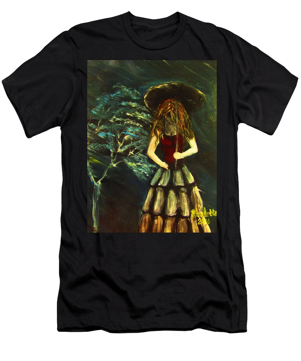 Storm Men's T-Shirt (Athletic Fit) featuring the painting Stormy Night by Romelette Metz