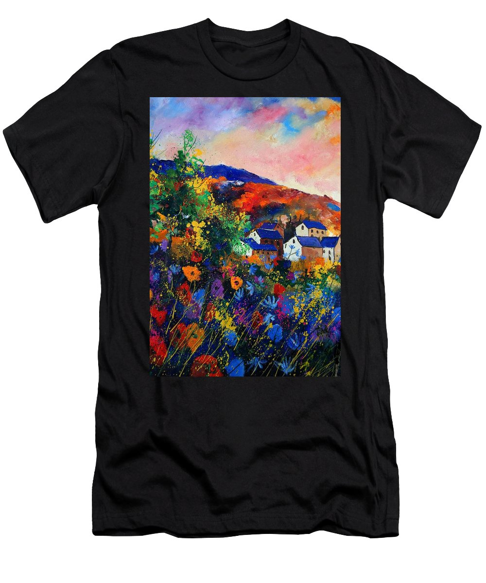 Landscape Men's T-Shirt (Athletic Fit) featuring the painting Summer by Pol Ledent