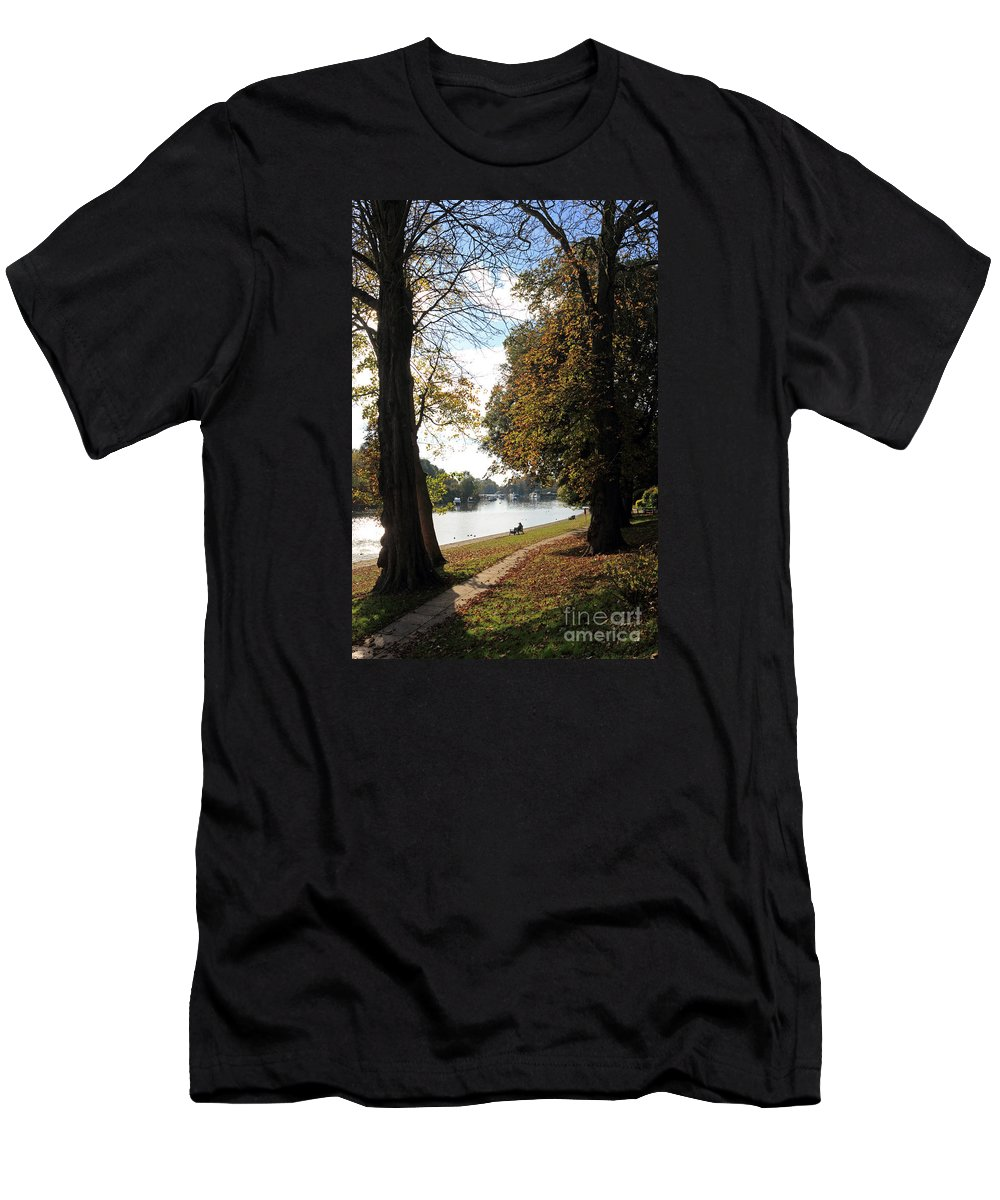 Autumn Colours At Sunbury On Thames Surrey Uk Men's T-Shirt (Athletic Fit) featuring the photograph Sunbury On Thames Surrey Uk by Julia Gavin