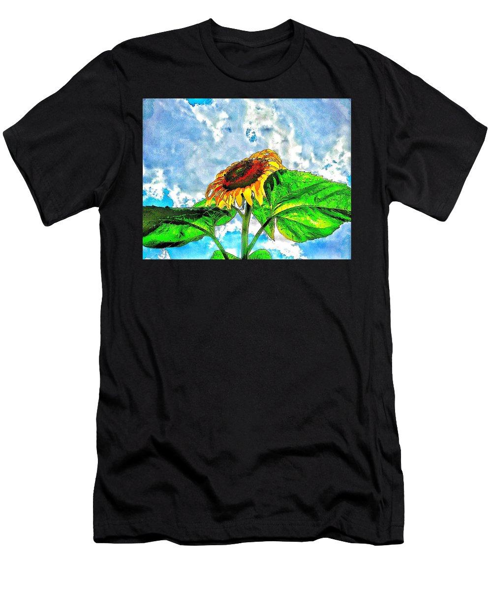 Sunflower In The Sky Men's T-Shirt (Athletic Fit) featuring the photograph Sunflower In The Sky by Olga Lyakh