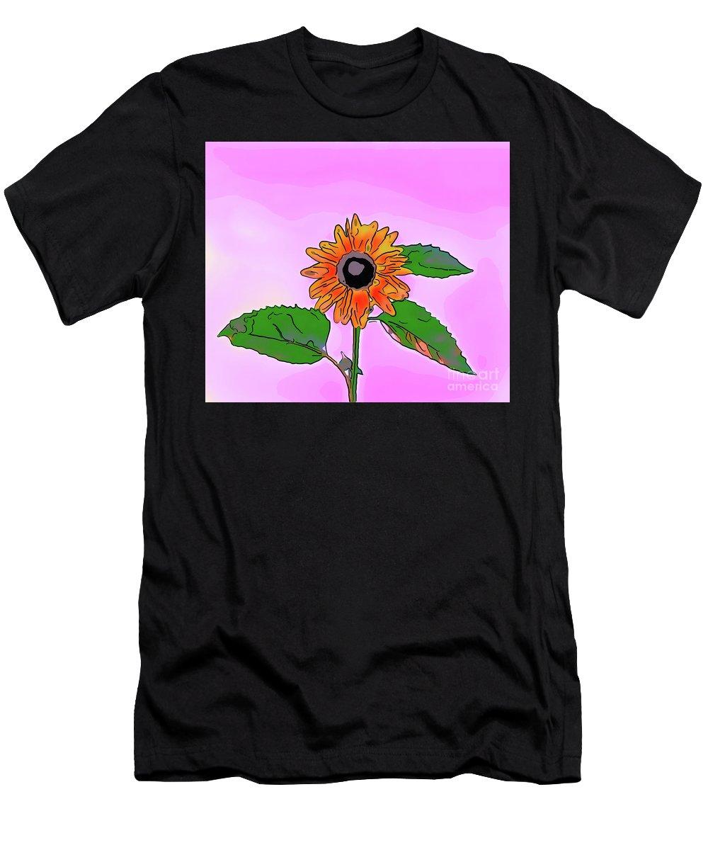 Illustration Men's T-Shirt (Athletic Fit) featuring the digital art Illustration Of A Sunflower On A Pink Background by Viktor Birkus