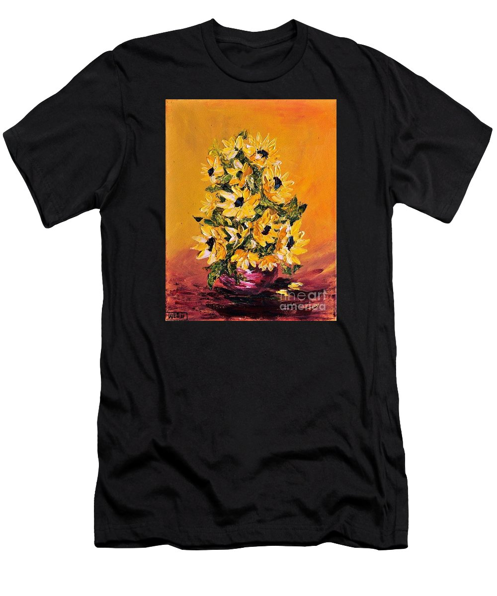 Sunflowers Men's T-Shirt (Athletic Fit) featuring the painting Sunflowers For You by Teresa Wegrzyn
