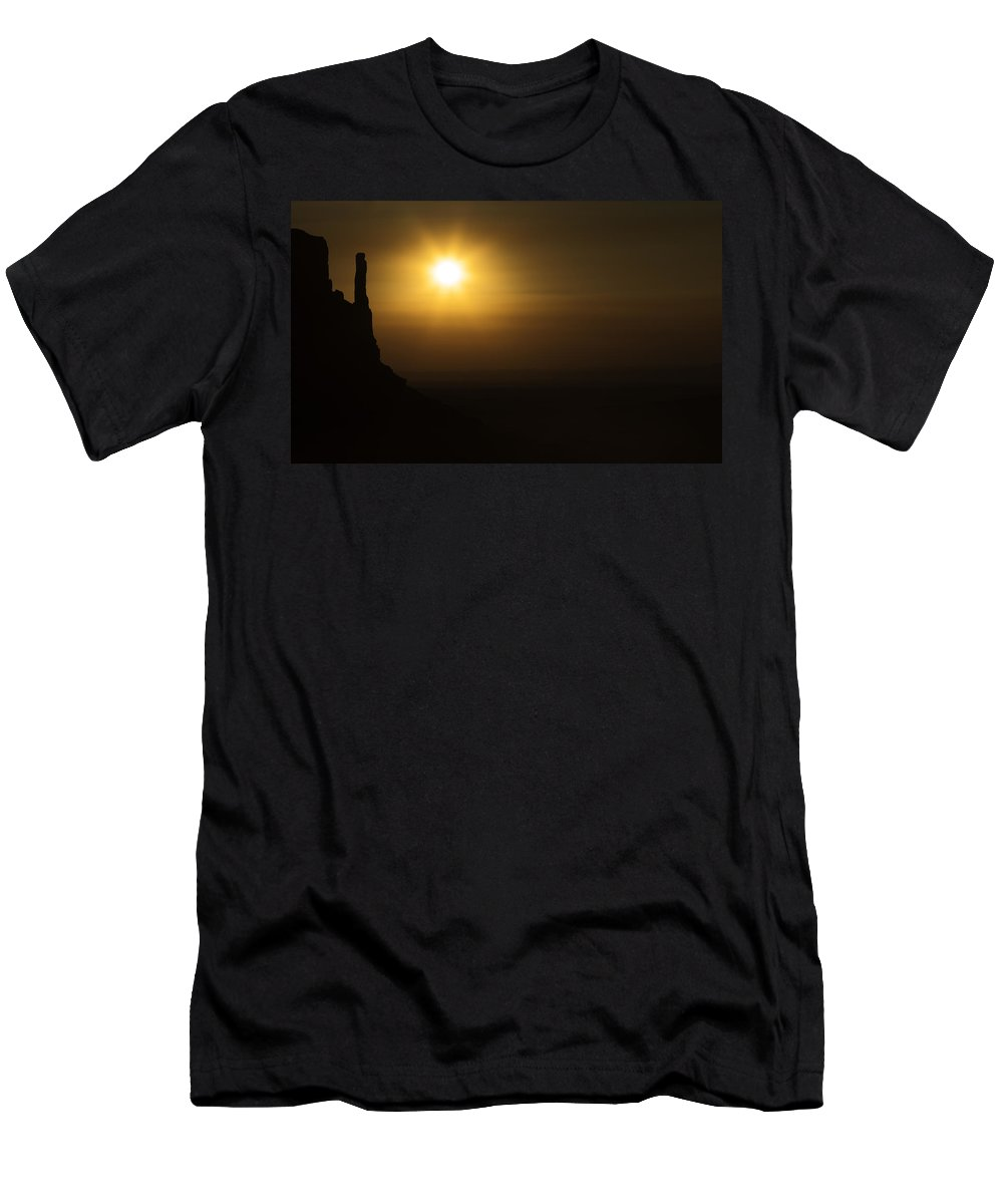 Monument Valley Men's T-Shirt (Athletic Fit) featuring the photograph Sunrise At Monument Valley by Peter Scott
