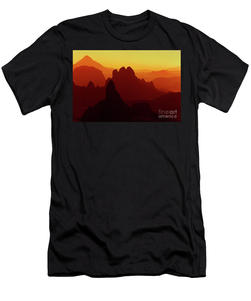 Abstract Men's T-Shirt (Athletic Fit) featuring the photograph Sunrise In Sahara Desert by Dmitry Pichugin