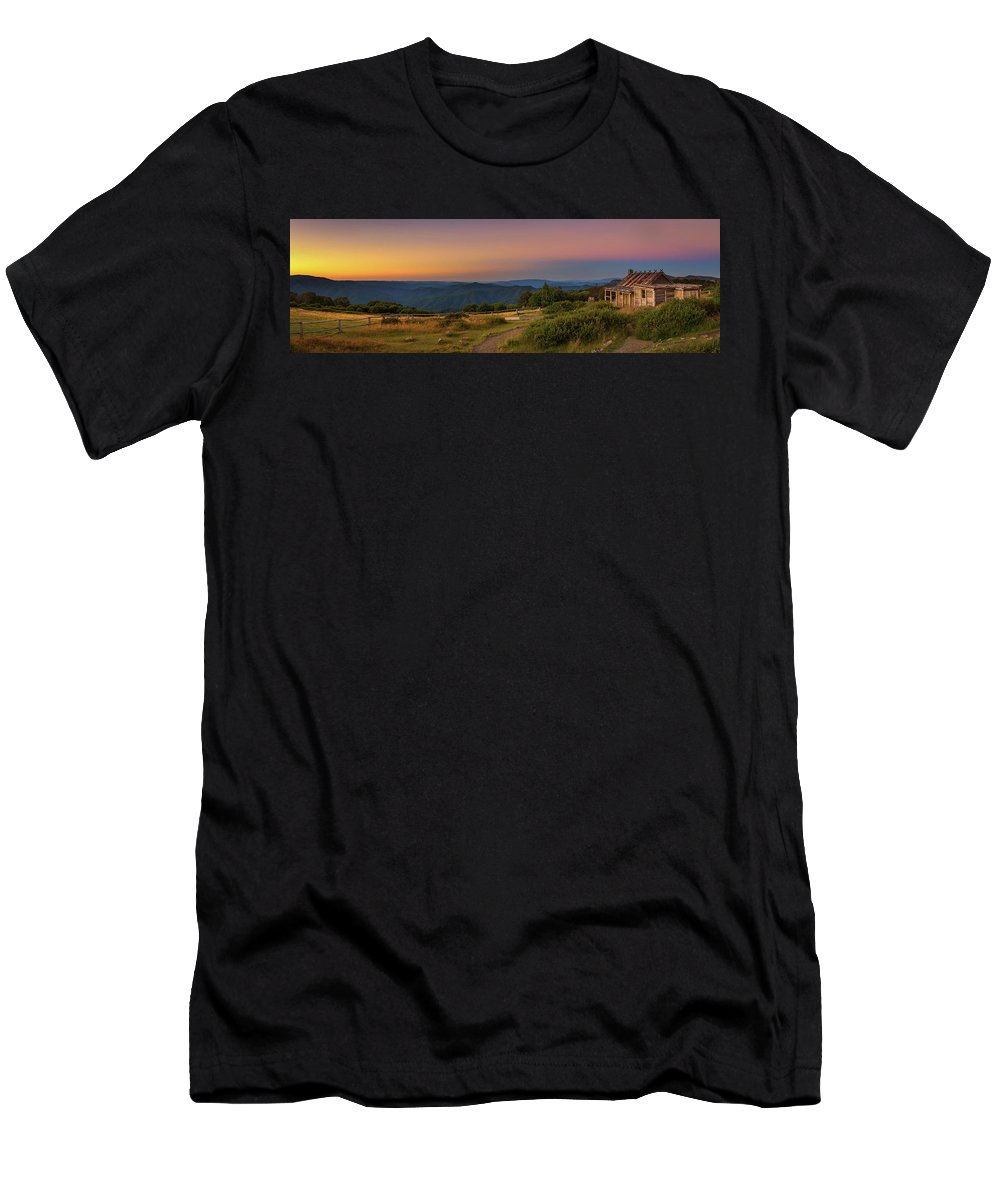 Alps Men's T-Shirt (Athletic Fit) featuring the photograph Sunset Above Craigs Hut In The Victorian Alps, Australia by Miroslav Liska