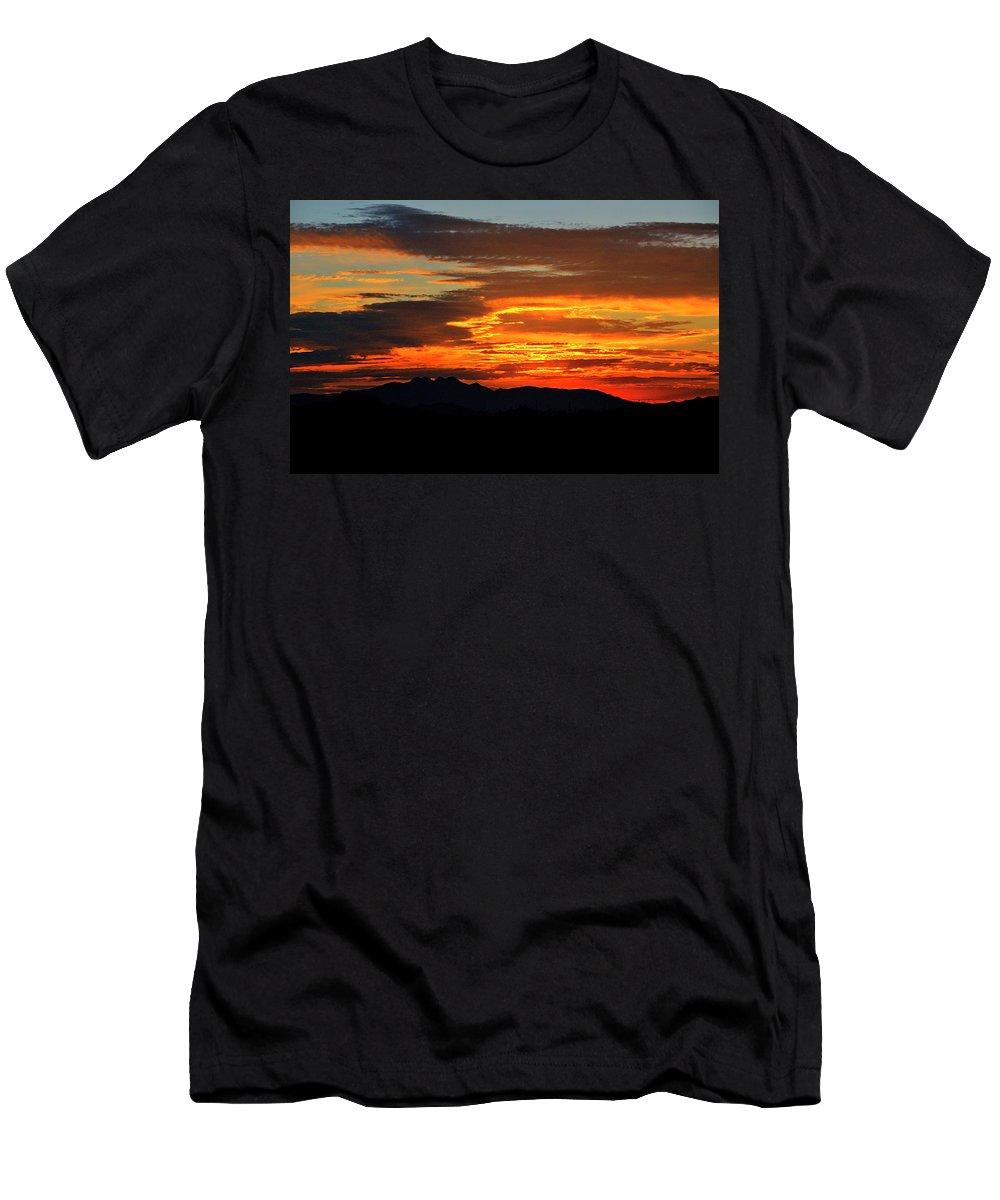 Sunrise Men's T-Shirt (Athletic Fit) featuring the photograph Superstition Sunrise by Saija Lehtonen