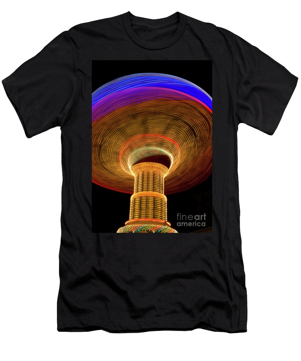 Ferris Wheel Men's T-Shirt (Athletic Fit) featuring the photograph Swing Amusement Ride At Night by Anthony Totah
