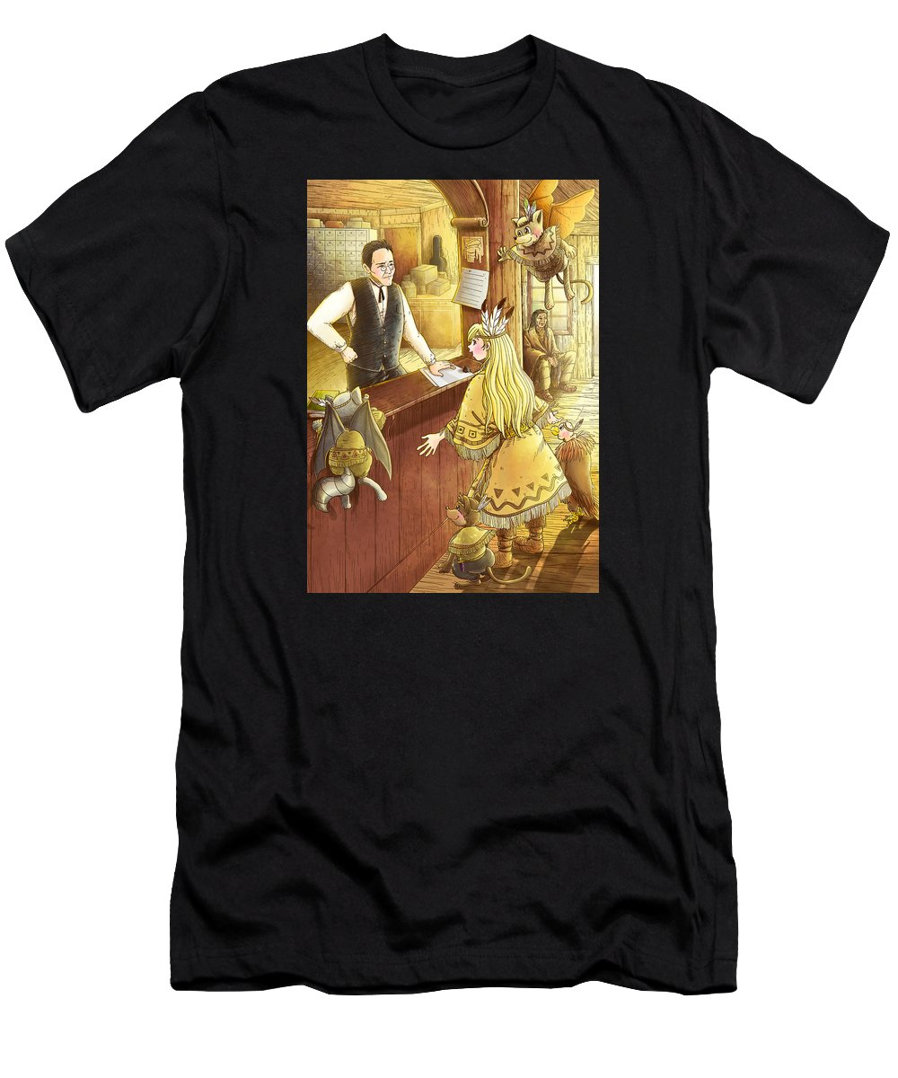 Post Office Men's T-Shirt (Athletic Fit) featuring the painting Tammy And The Postmaster by Reynold Jay