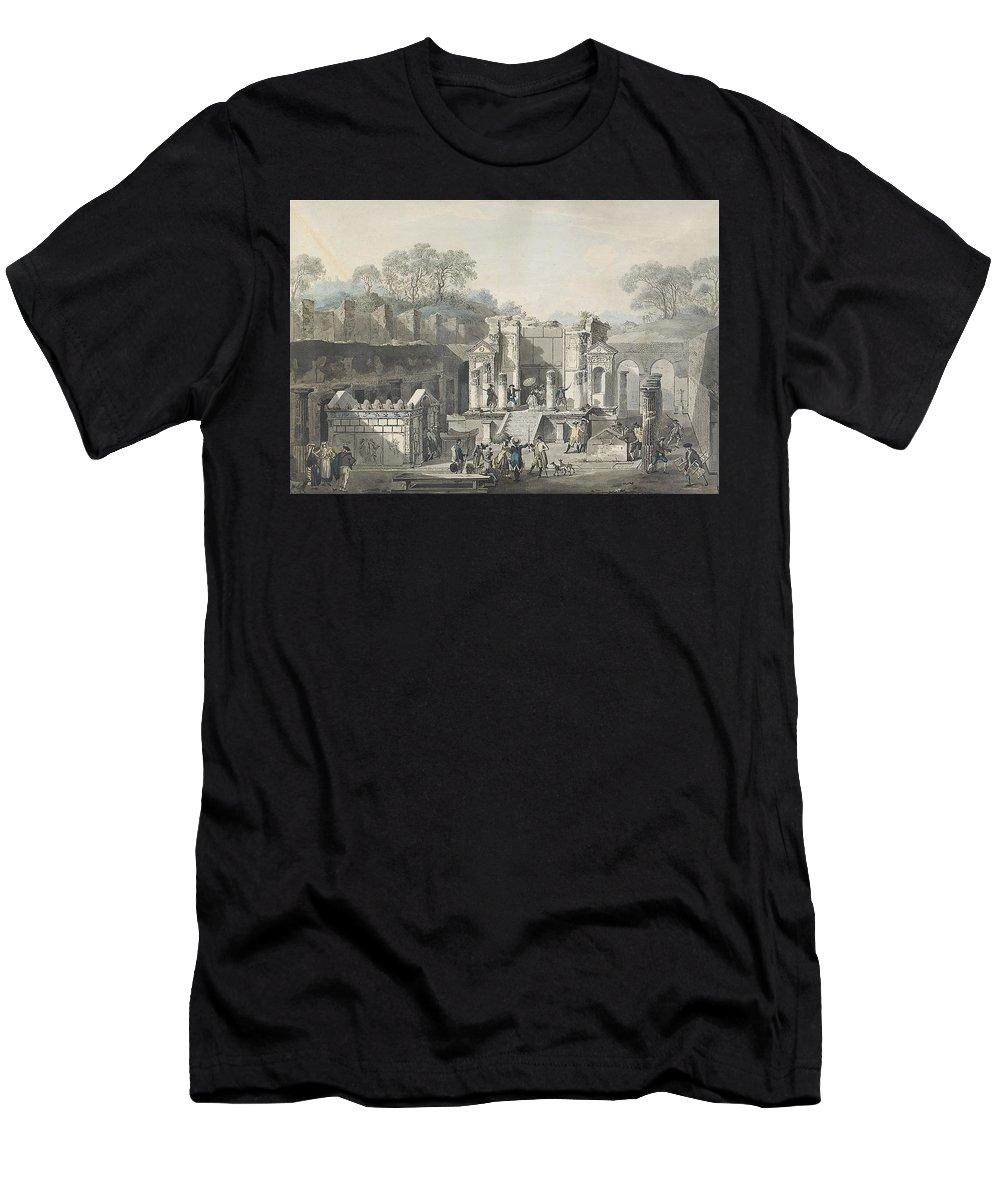 Louis Jean Desprez 1743-1804 Temple D'isis Vu De Face à Pompeja Men's T-Shirt (Athletic Fit) featuring the painting Temple by Louis Jean
