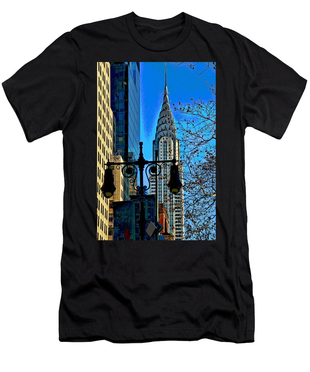 Manhattan Men's T-Shirt (Athletic Fit) featuring the photograph The Chrysler Building by Allen Beatty
