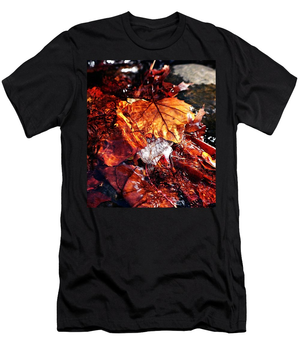Leaves Men's T-Shirt (Athletic Fit) featuring the photograph The End Of Fall by Jessica Kristoff