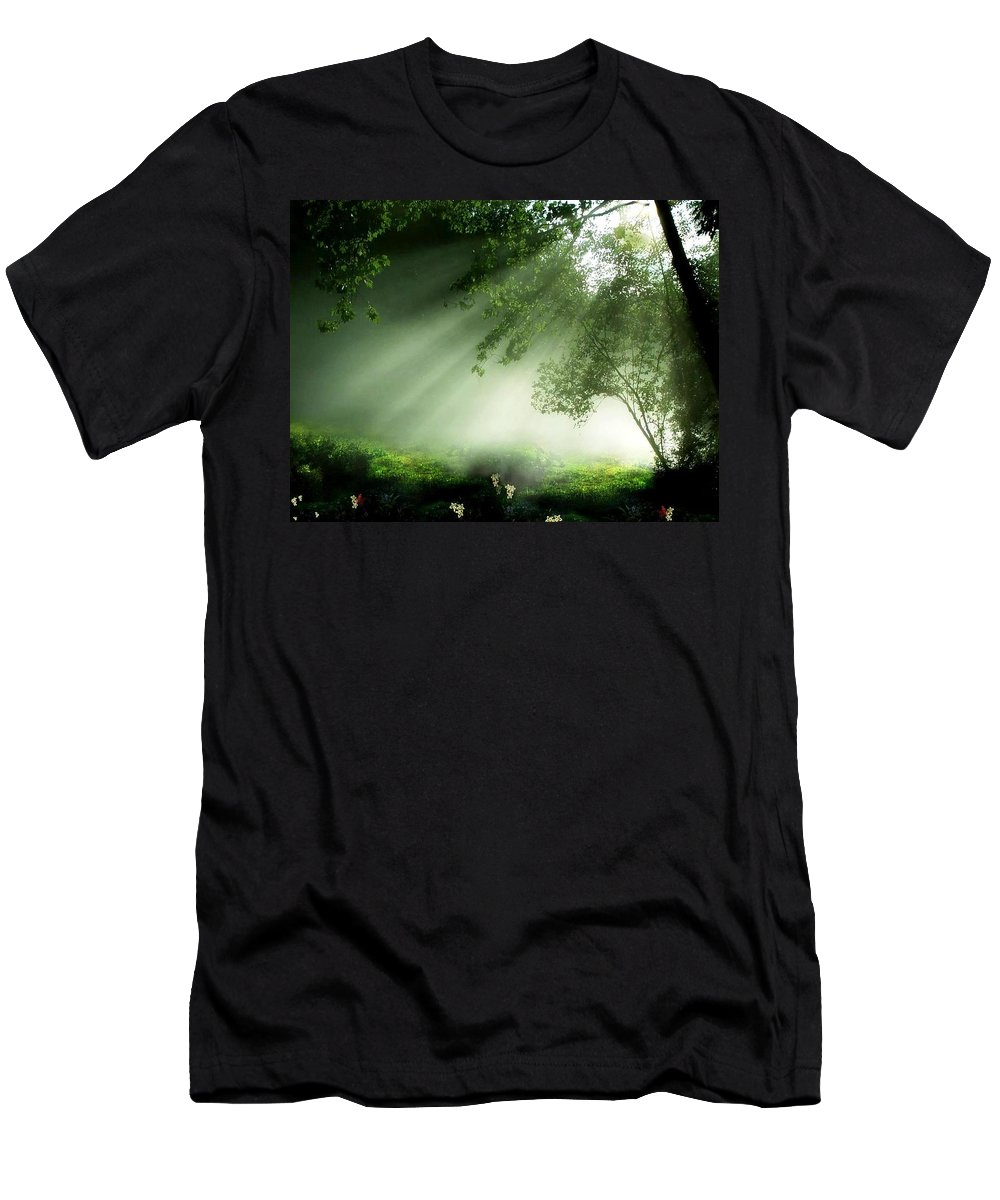 Water Men's T-Shirt (Athletic Fit) featuring the photograph The Fog by Lord Frederick Lyle Morris - Disabled Veteran