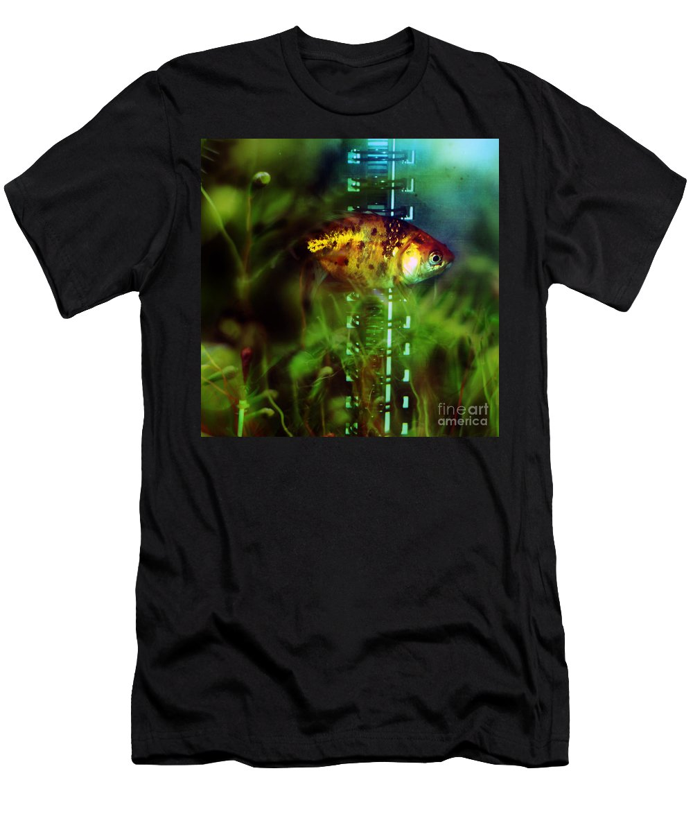 Fish Men's T-Shirt (Athletic Fit) featuring the photograph The Goldfish by Angel Ciesniarska