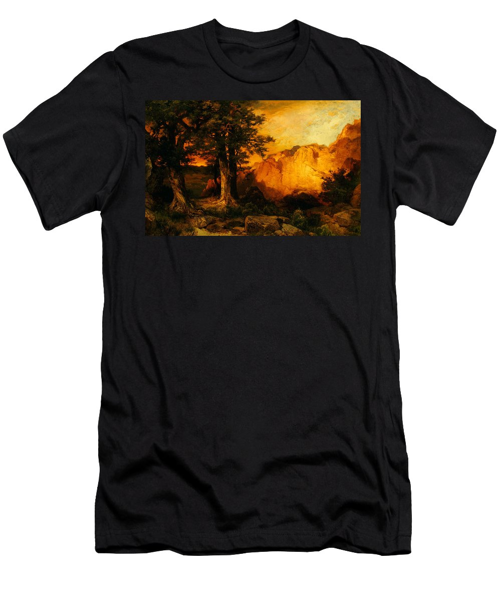 Thomas Moran Men's T-Shirt (Athletic Fit) featuring the painting The Grand Canyon by Thomas Moran