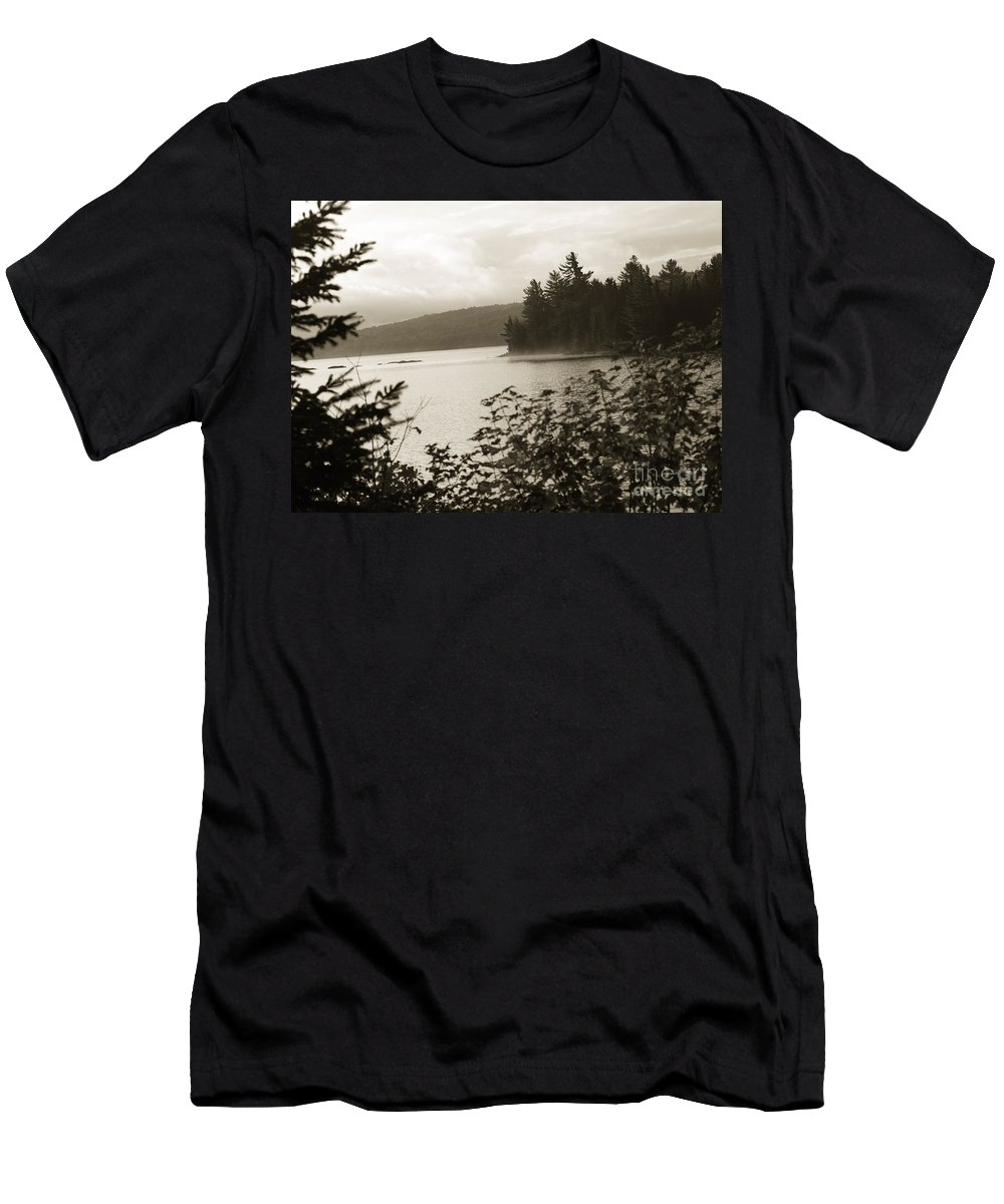 Lake Men's T-Shirt (Athletic Fit) featuring the photograph The Lake Of Two Rivers At Dawn by Oleksiy Maksymenko