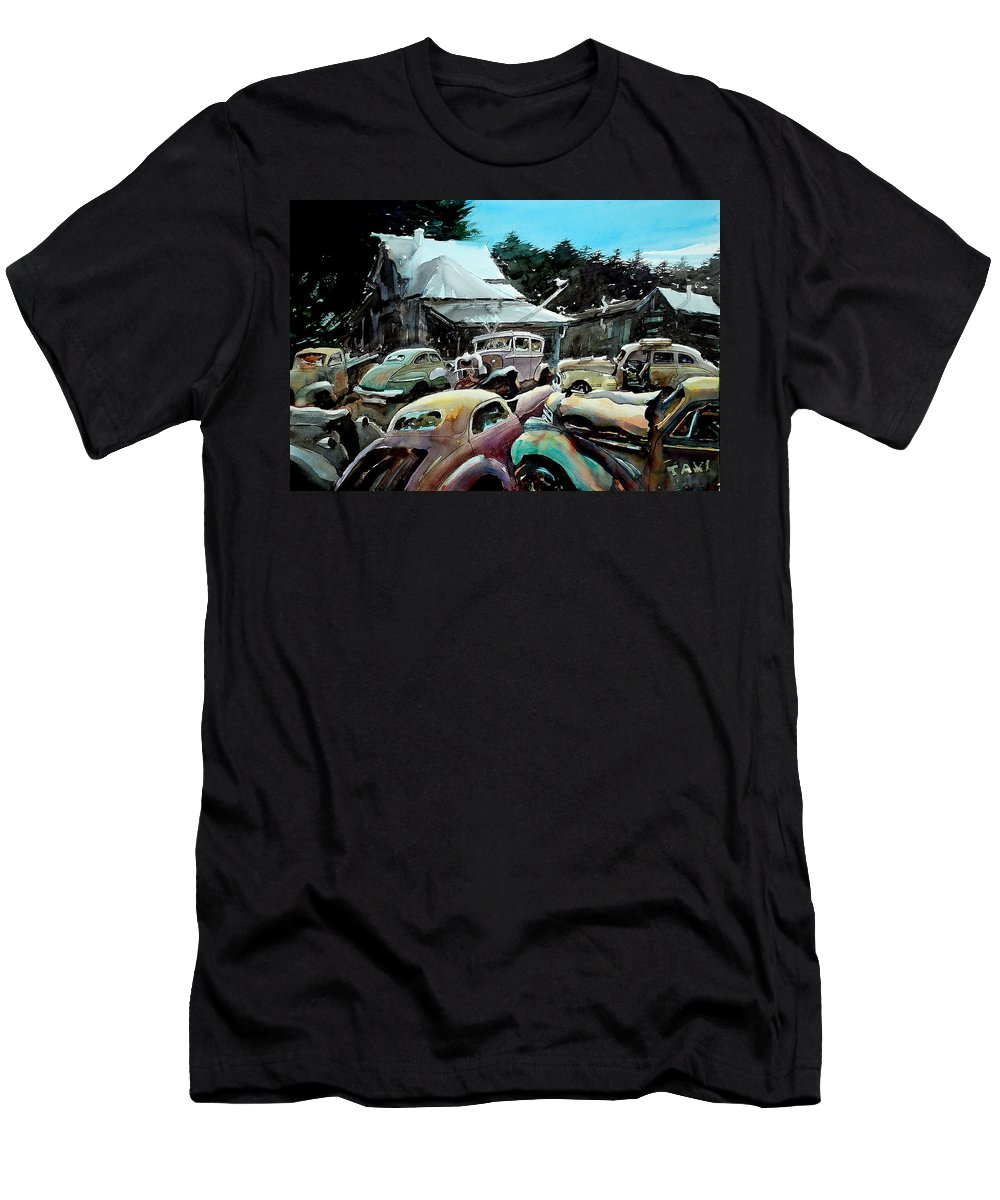 Cars Men's T-Shirt (Athletic Fit) featuring the painting The Last Stand by Ron Morrison