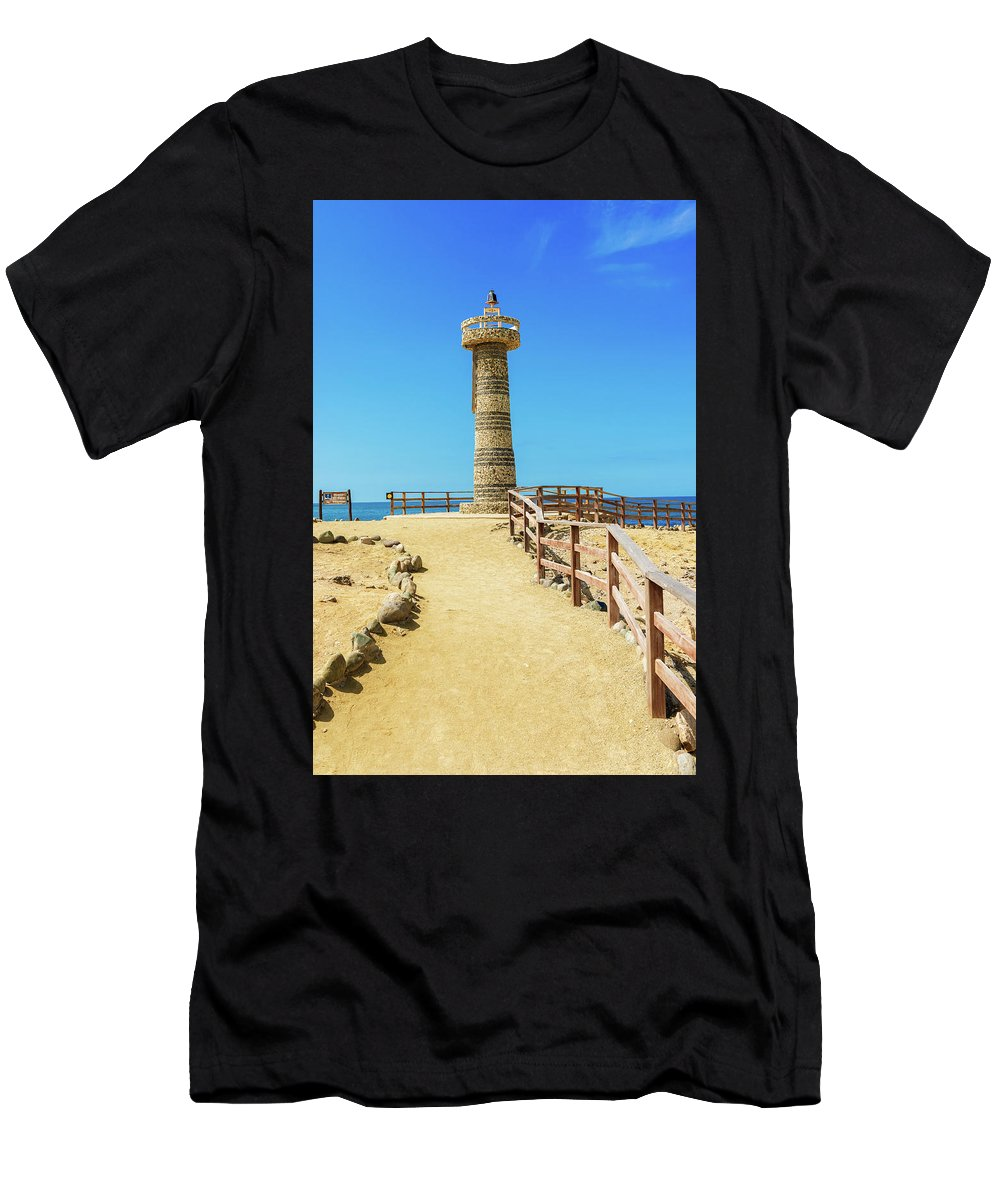Local Landmark Men's T-Shirt (Athletic Fit) featuring the photograph The Lighthouse In Salinas, Ecuador by Marek Poplawski
