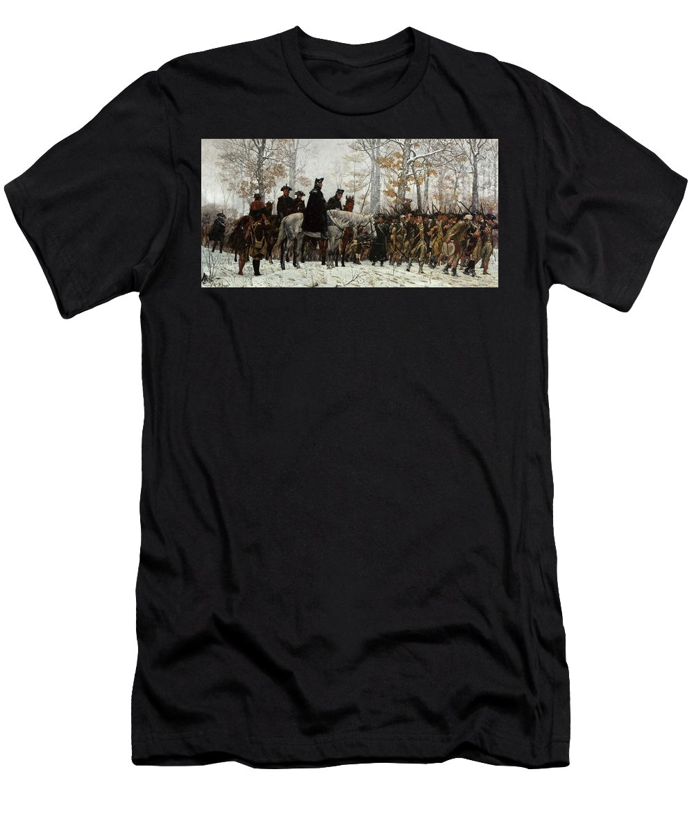 March Men's T-Shirt (Athletic Fit) featuring the painting The March To Valley Forge by William Trego