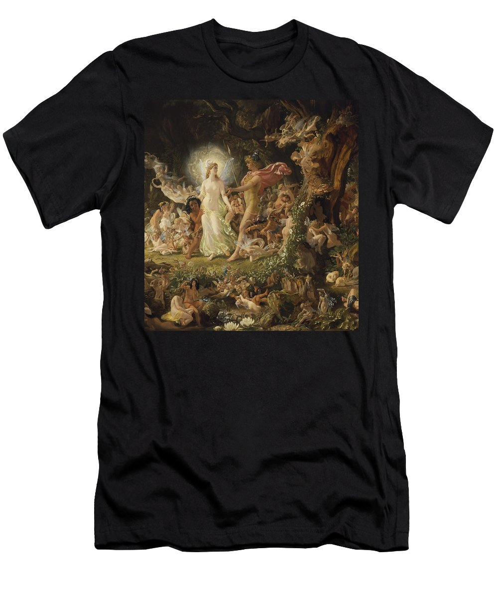 Sir Men's T-Shirt (Athletic Fit) featuring the painting The Quarrel Of Oberon And Titania by Sir Joseph Noel Paton