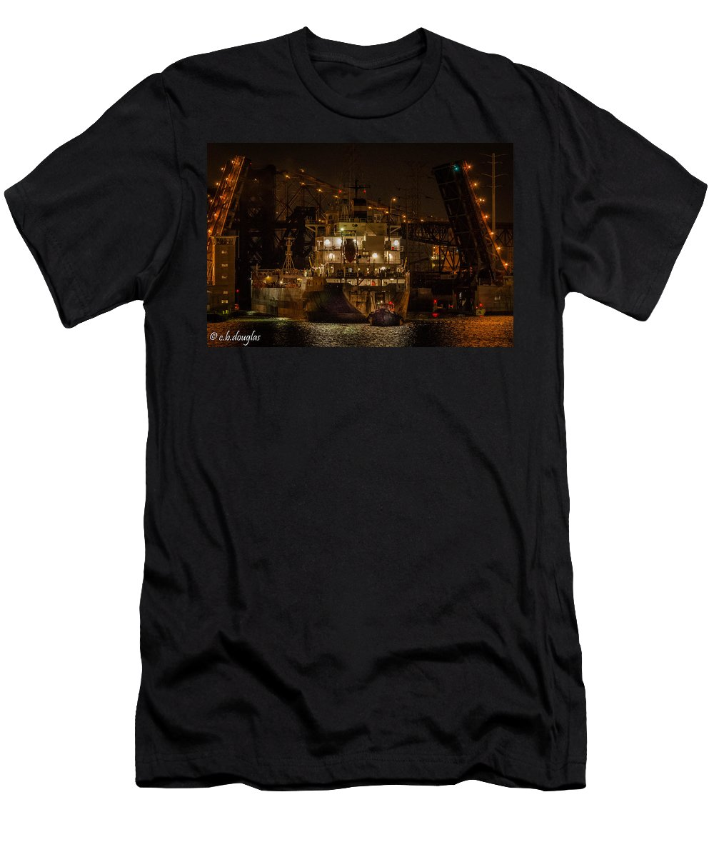 106th Street Bridge Men's T-Shirt (Athletic Fit) featuring the photograph The Radcliffe R. Latimer by Christine Douglas