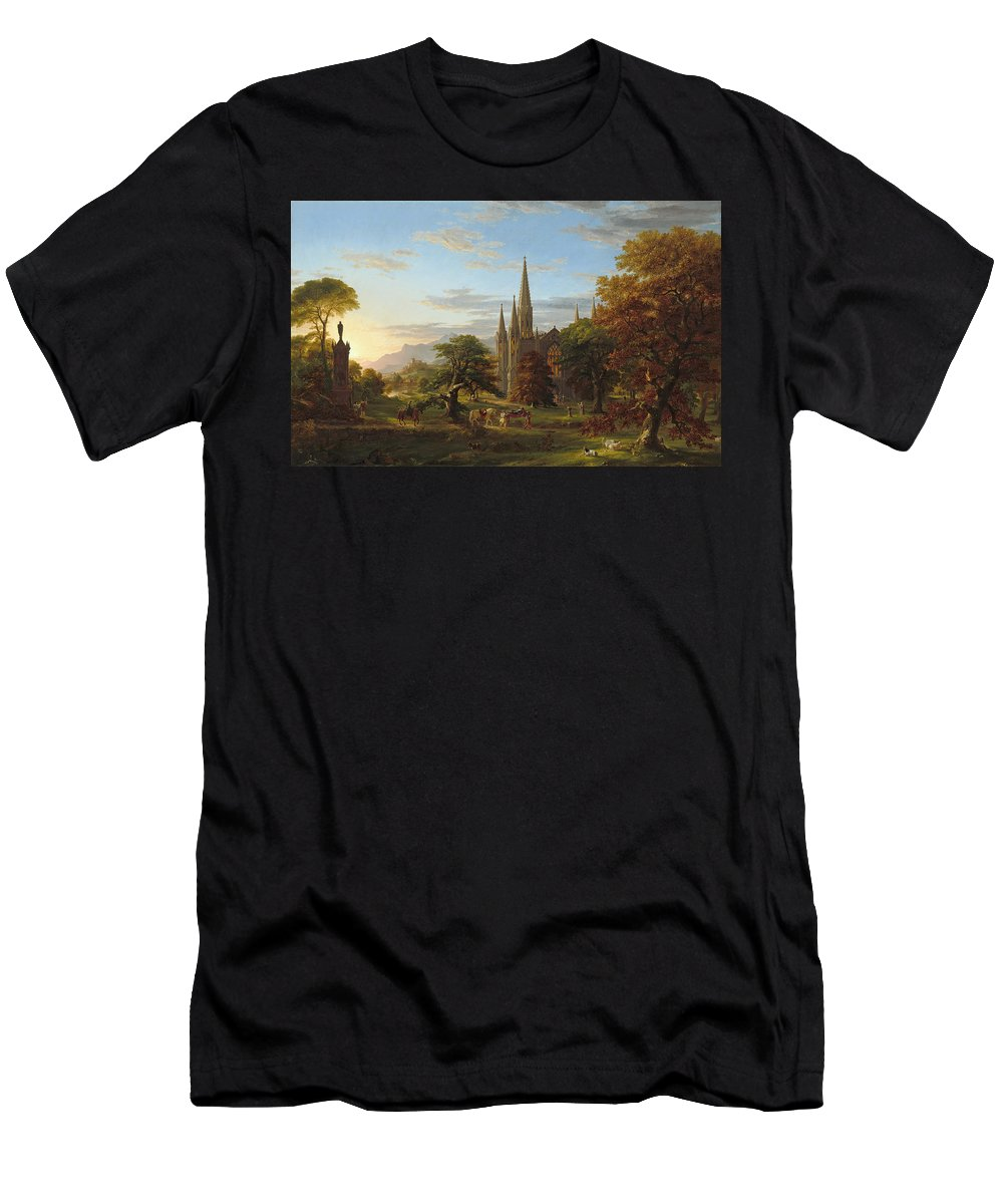 Art Men's T-Shirt (Athletic Fit) featuring the painting The Return by Thomas Cole