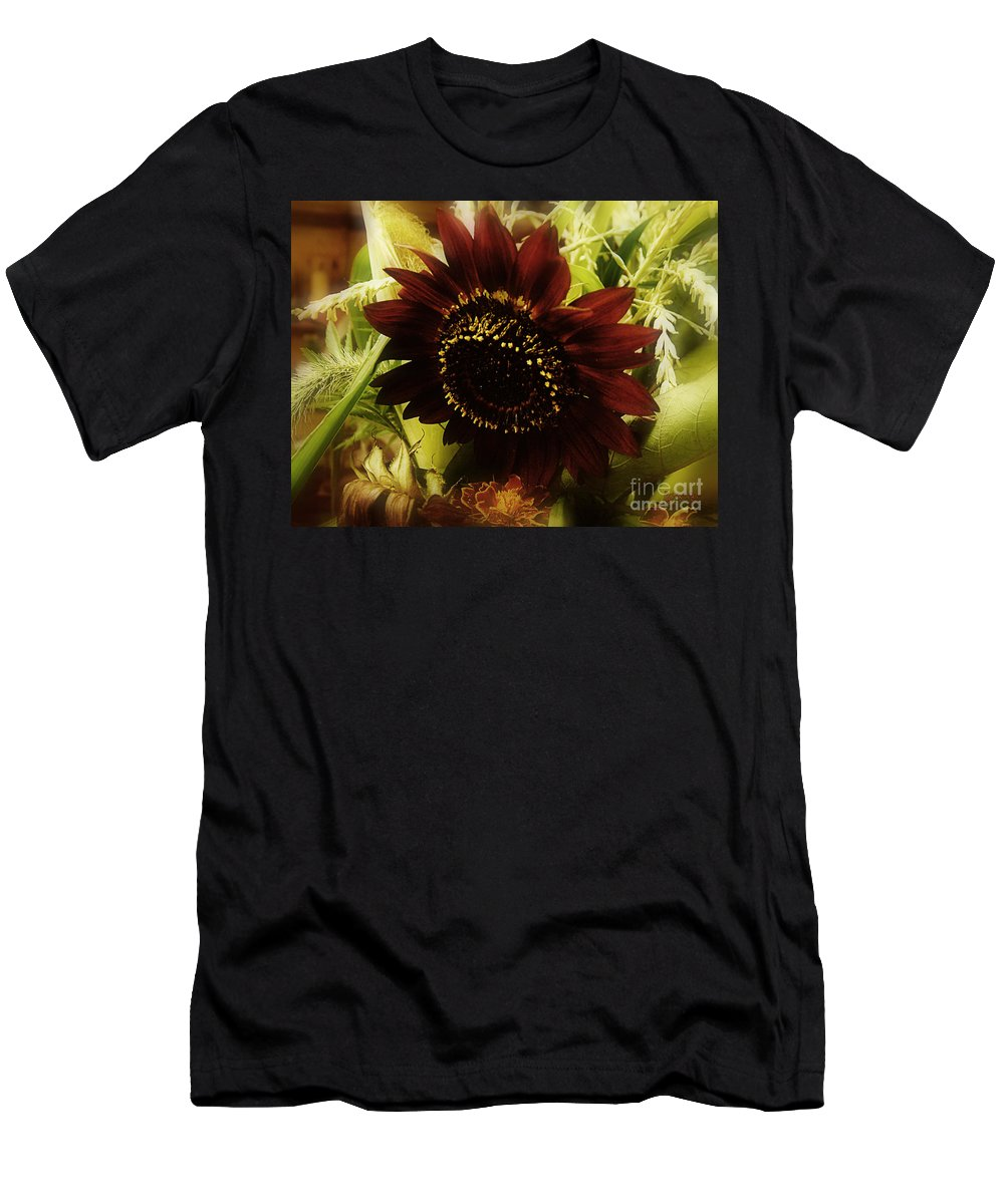 Sunflower Men's T-Shirt (Athletic Fit) featuring the photograph The Softness Of Autumn by RC DeWinter